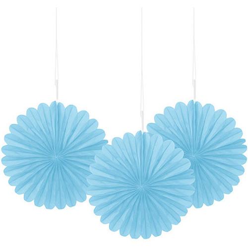 Powder Blue Decorative Fan 15cm ( x 3)