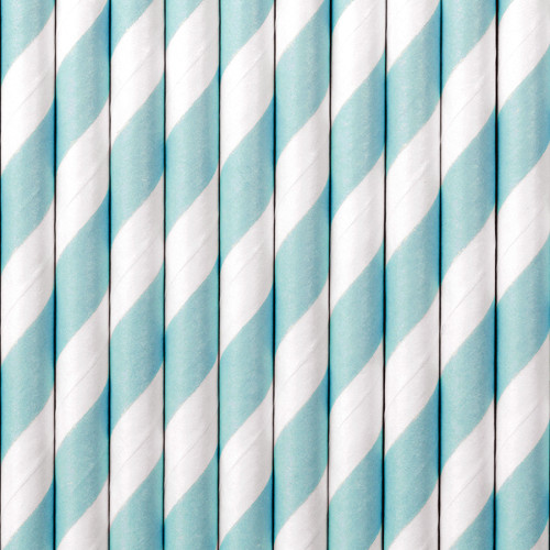 Light Blue Striped Paper Straws ( x 10)