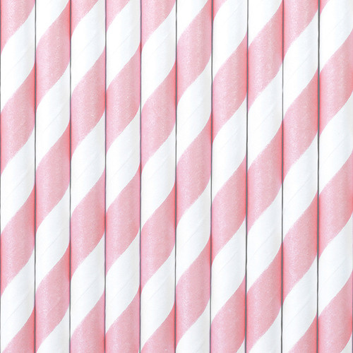 Light Pink Striped Paper Straws ( x 10)