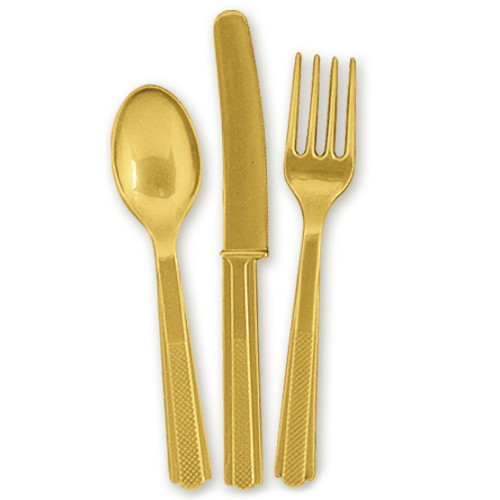 Gold Plastic Cutlery (6 Guests)