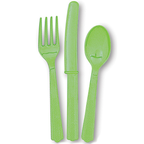 Lime Green Cutlery (6 Guests)