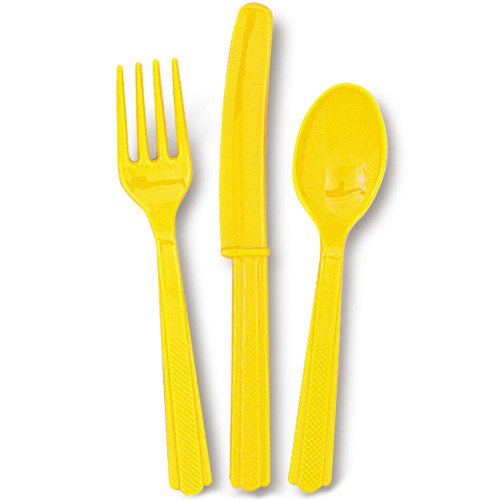 Sunflower Yellow Cutlery (6 Guests)