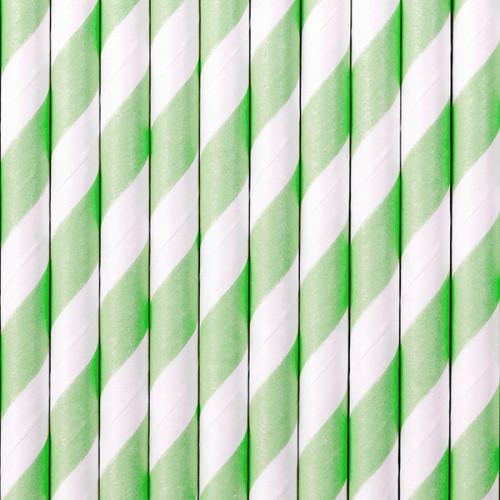 Light Green Striped Paper Straws ( x 10)