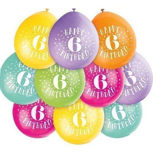 6th Birthday Balloons ( x 10)