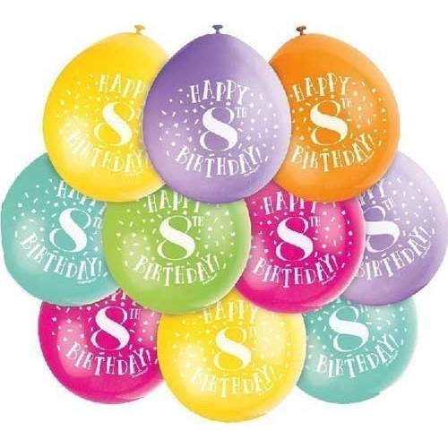 8th Birthday Balloons Pk 10