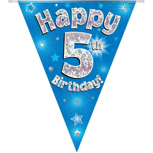 Blue 5th Birthday Bunting