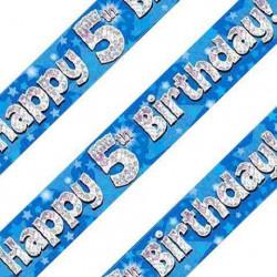 Blue 5th Birthday Banner