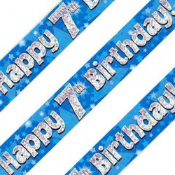 Blue 7th Birthday Banner