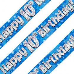 Blue 10th Birthday Banner
