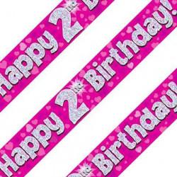 Pink 2nd Birthday Banner