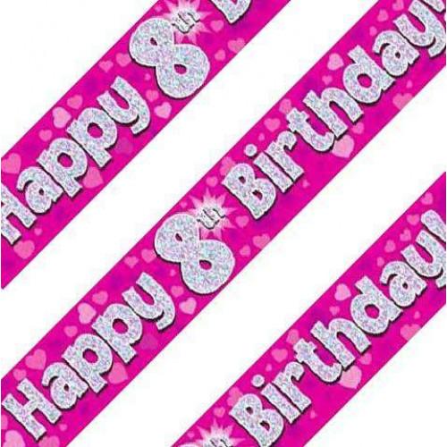 Pink 8th Birthday Banner