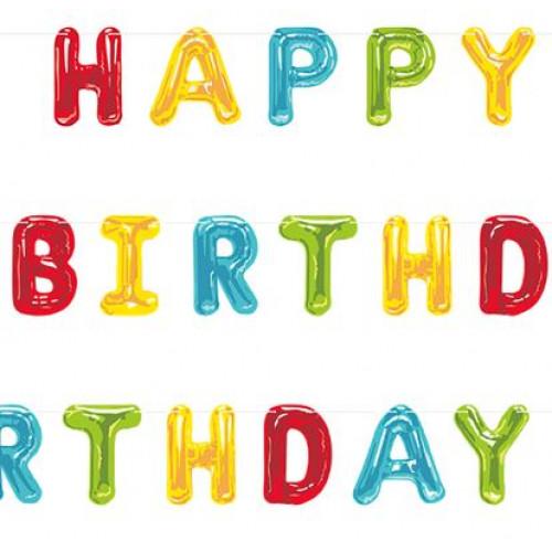 Happy Balloons Birthday Banner
