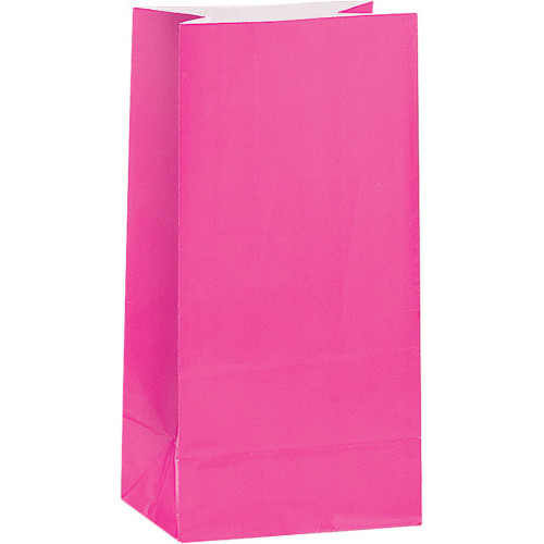 Hot Pink Paper Party Bags ( x 12)