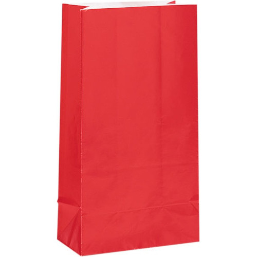 Red Paper Party Bags ( x 12)
