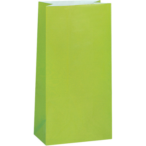 Lime Green Paper Party Bags ( x 12)
