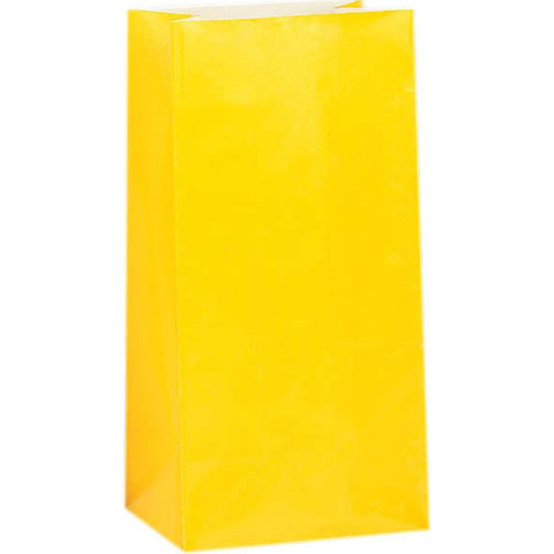 Yellow Paper Party Bags ( x 12)