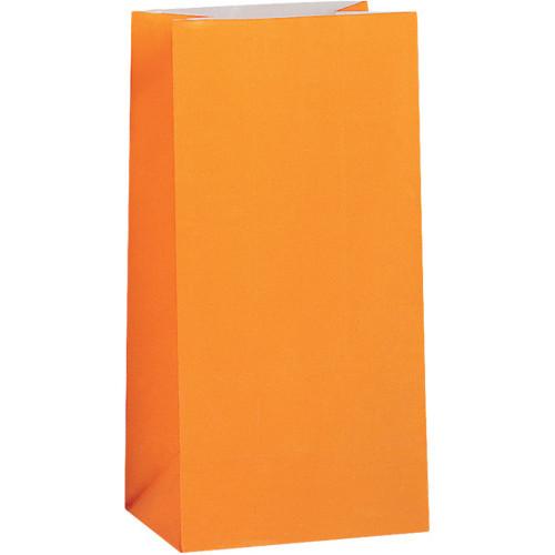 Orange Paper Party Bags ( x 12)