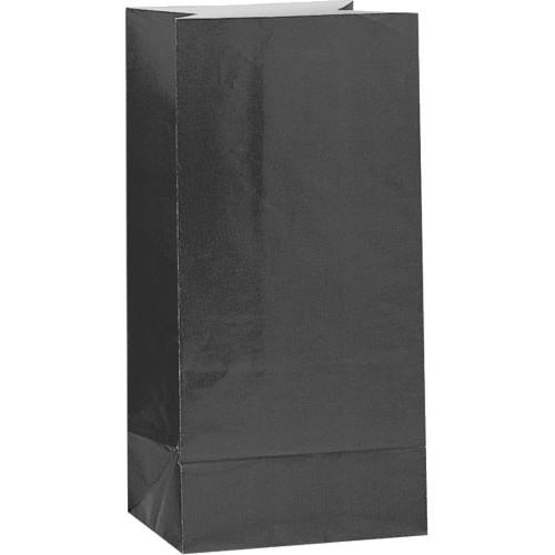 Black Paper Party Bags ( x 12)